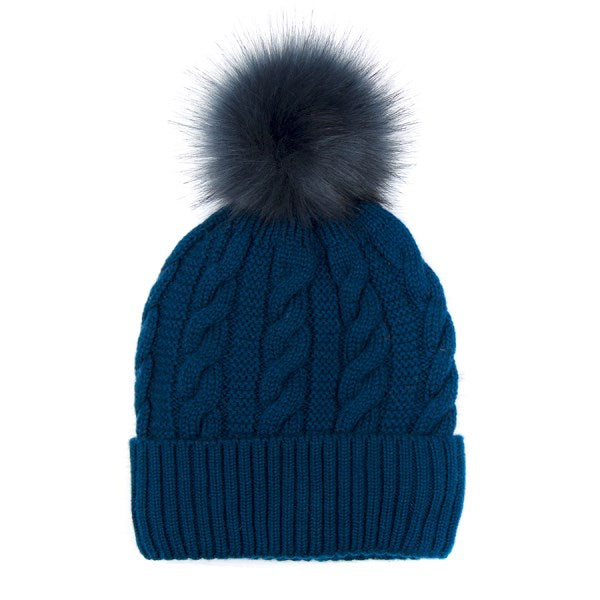 Blue Teal Cable Knit Faux Fur Bobble Hat