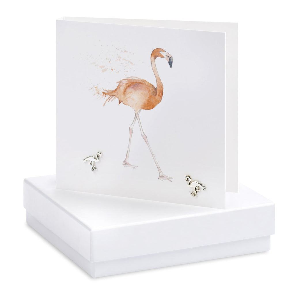Boxed Flamingo Silver Earring Card