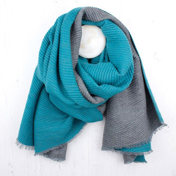 Turquoise And Grey Pleated Reversible Scarf