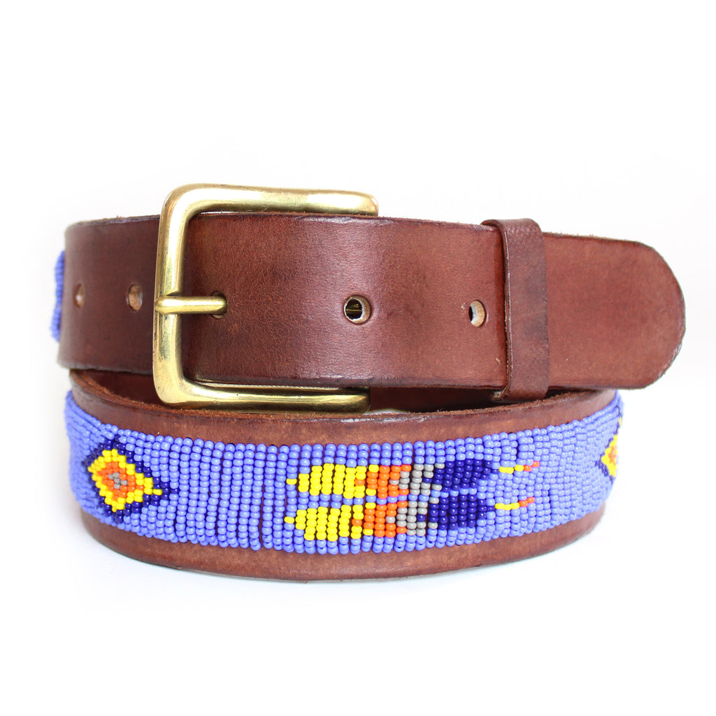 Masai Blue Feather Beaded Leather Belt