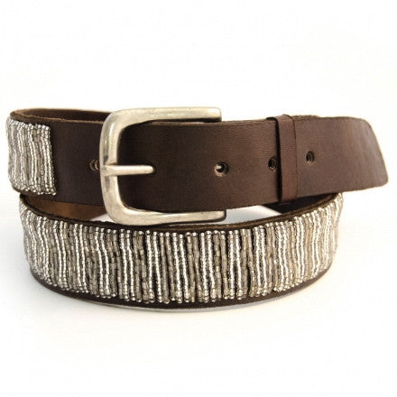 Silver Beaded Leather Belt