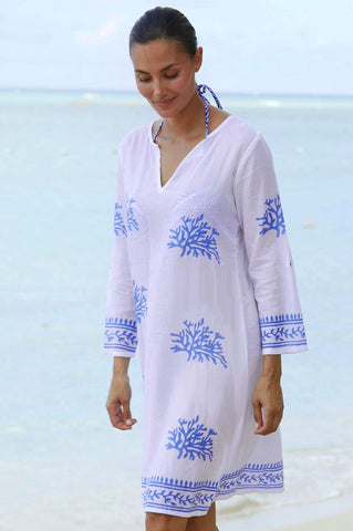 White & Cobalt Blue Guadalupe Organic Cotton Tunic