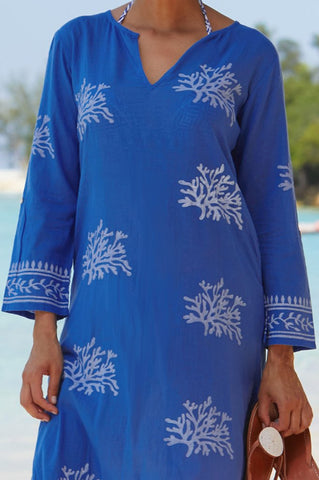 Blue Cobalt & White Guadalupe Organic Cotton Maxi Tunic