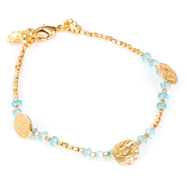 Apatite Gold Plated Sun Disc Bracelet