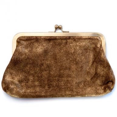 Gold Dust Leather Clutch Bag