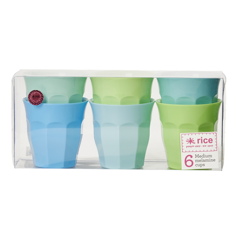 Set of 6 Melamine Blue/Green Neon Cups