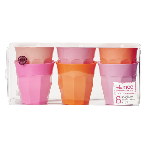 Set of 6 Melamine Pink/Orange Neon Cups