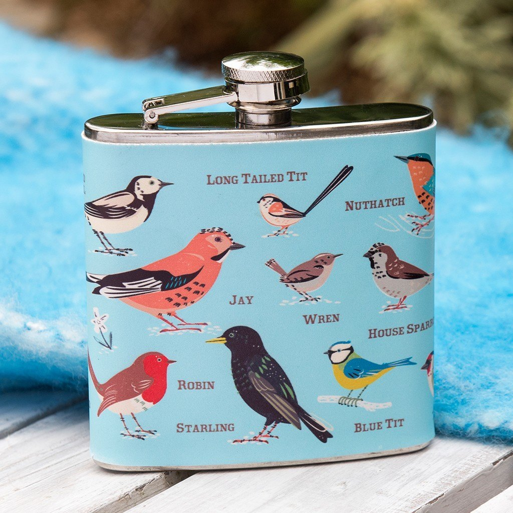 Hip Flask Garden Birds