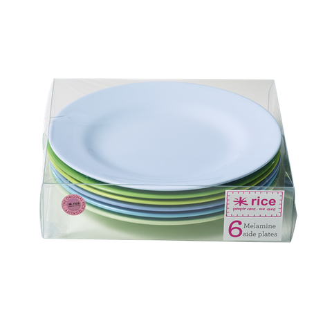 Set of 6 Melamine Blue/Green Neon Plates