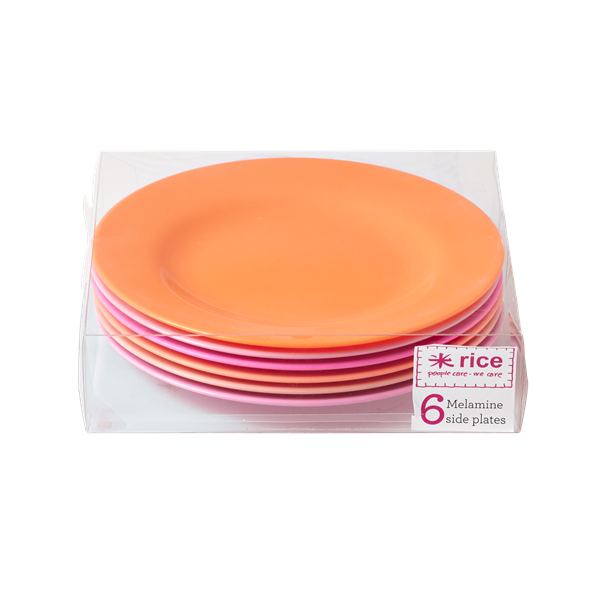 Set of 6 Melamine Pink/Orange Neon Plates