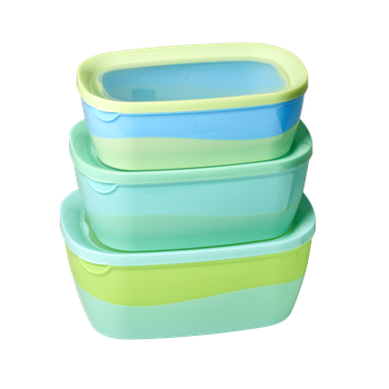 Blue/Green Rectangular Food Boxes (Set of 3)