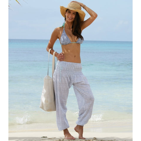 Grey/White Ikat Harem Cotton Trousers