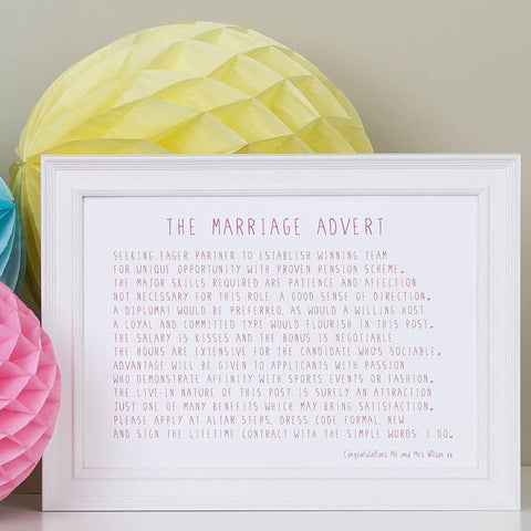 The Marriage Advert Poem Print
