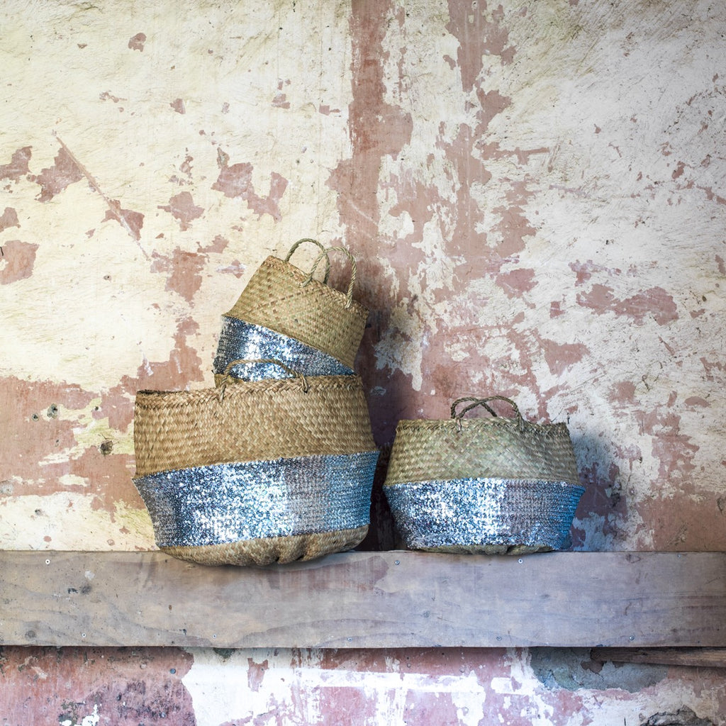 Silver Sequin Toulouse Baskets