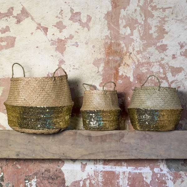 Gold Sequin Toulouse Baskets