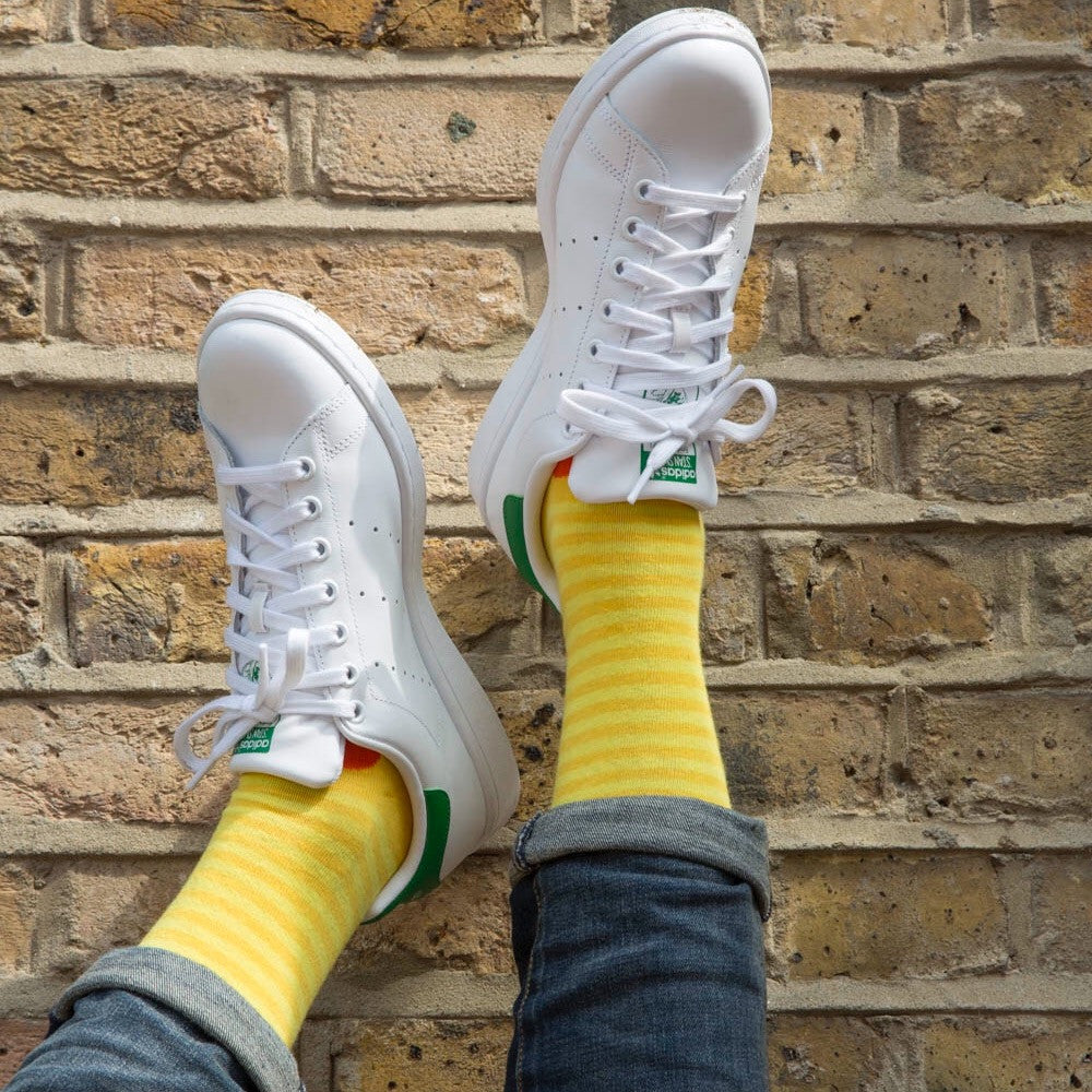 Yellow/Orange Stripe/Spot Fine Mens Socks