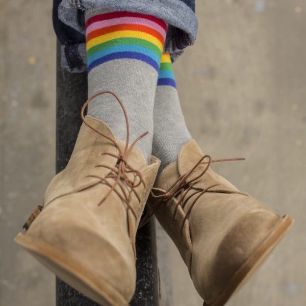 Grey Rainbow Striped Socks