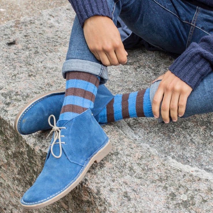 Blue Rugby Chunky Striped Socks