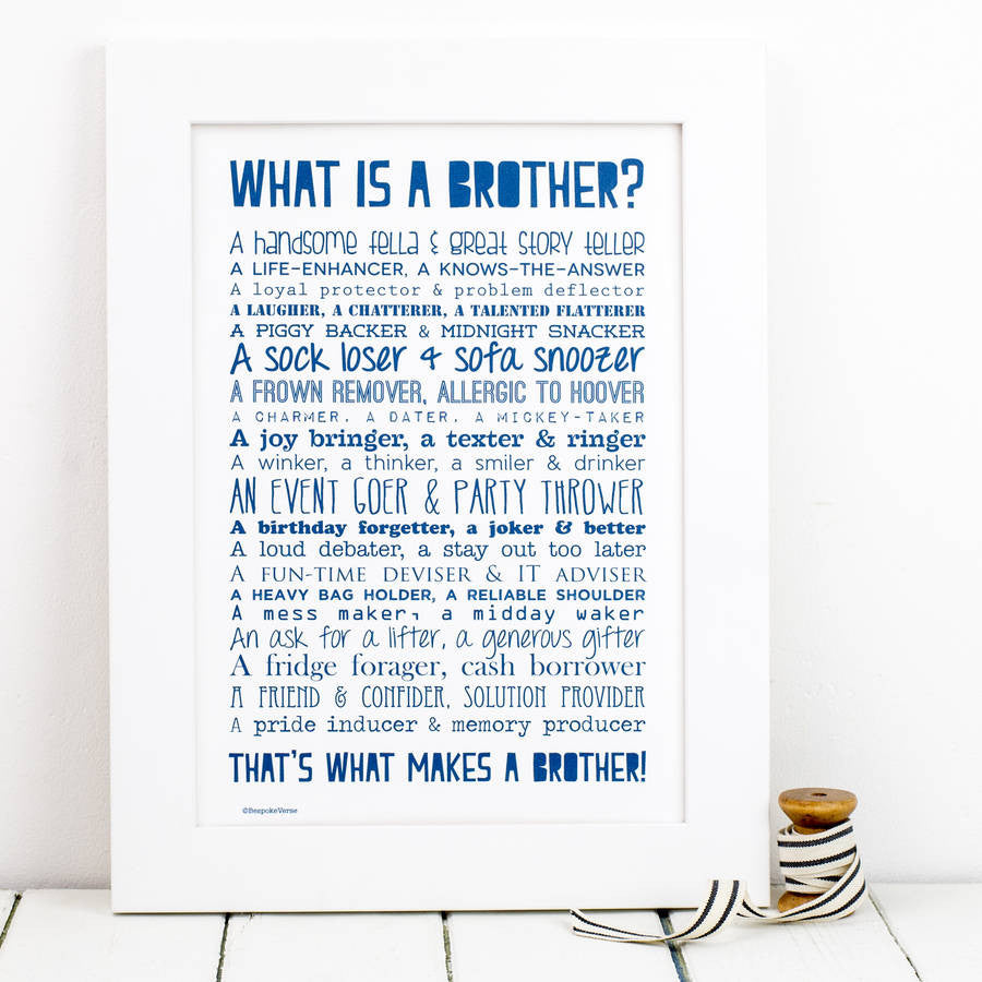 What Is A Brother Poem Print