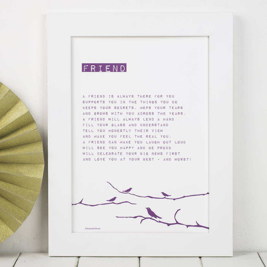 My Friend Bird Poem Print