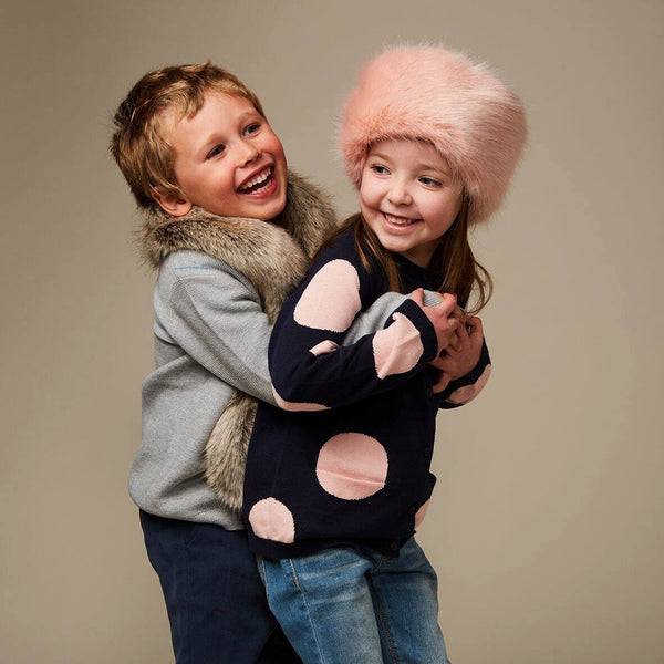 Pink Children's Faux Fur Pillbox Hat