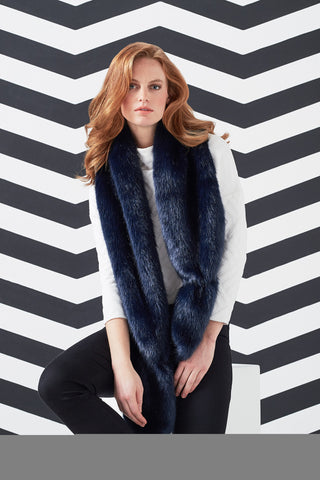 Midnight Blue Faux Fur Vixen Scarf