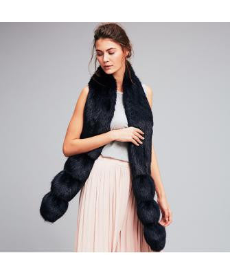 Blue Midnight Faux Fur Pom Pom Scarf