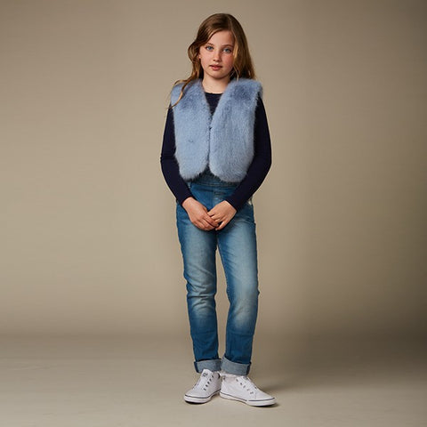 Powder Blue Children's Faux Fur Waistcoat