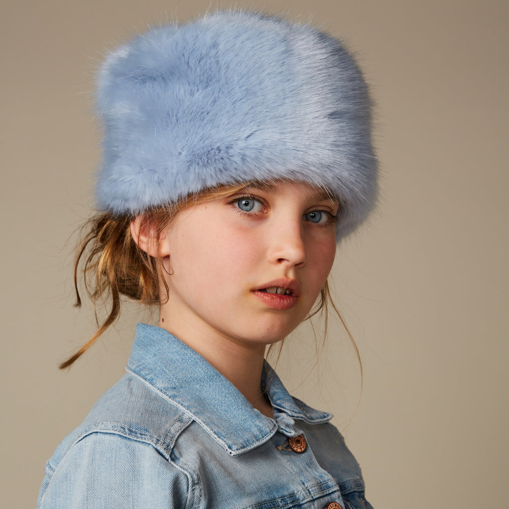 Truffle Children's Faux Fur Pillbox Hat