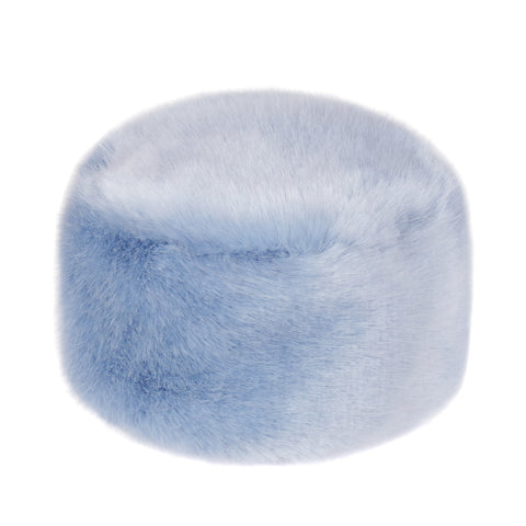 Powder Blue Kids Faux Fur Pillbox Hat
