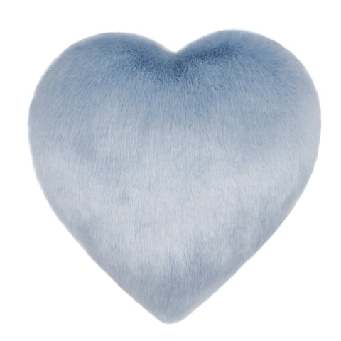 Blue Powder Faux Fur Heart Cushion