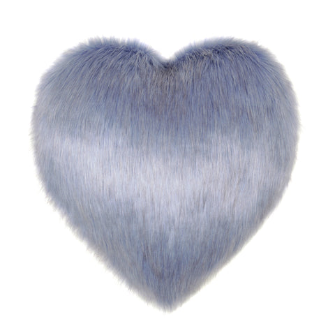 Cornflower Blue Faux Fur Heart Cushion