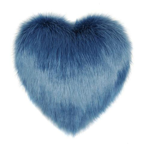 Marine Blue Faux Fur Heart Cushion