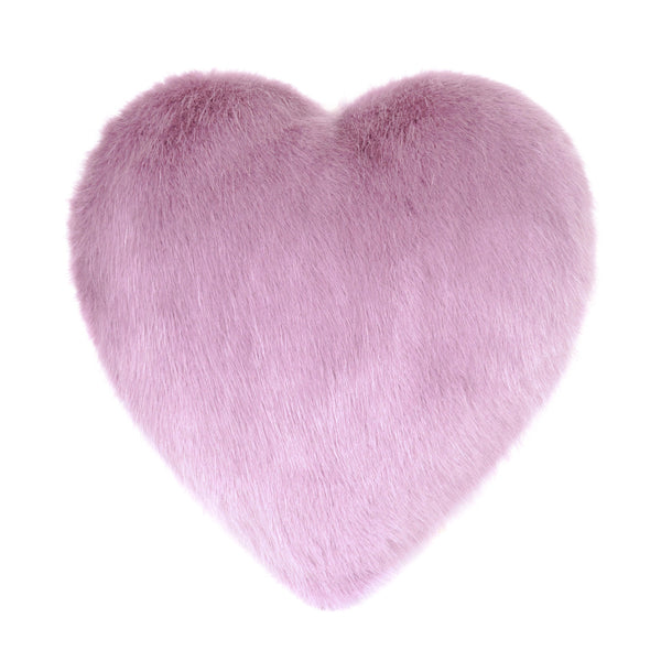 Pink Heather Faux Fur Heart Cushion