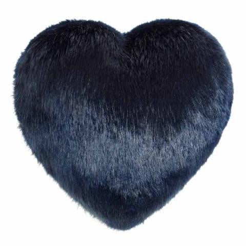 Midnight Blue Faux Fur Heart Cushion