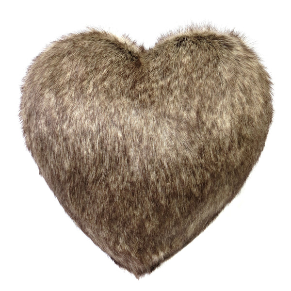 Truffle Faux Fur Boudoir Heart Cushion