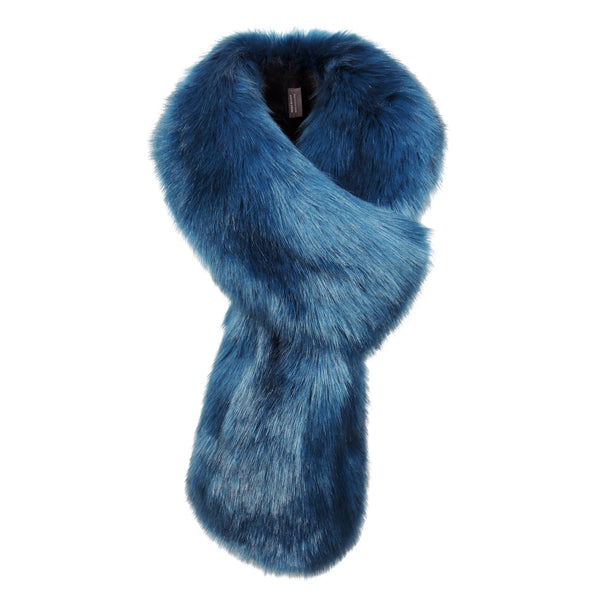 Petrol Faux Fur Loop Scarf