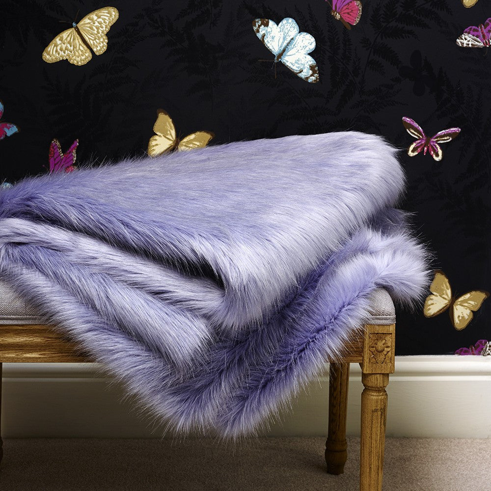 Blue Cornflower Faux Fur Comforter Throw