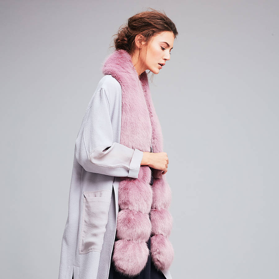 Heather Faux Fur Pom Pom Scarf