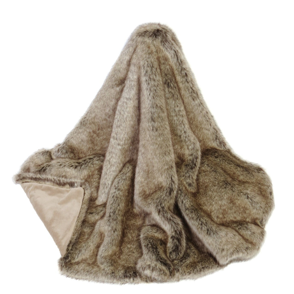 Truffle Faux Fur Comforter Throw