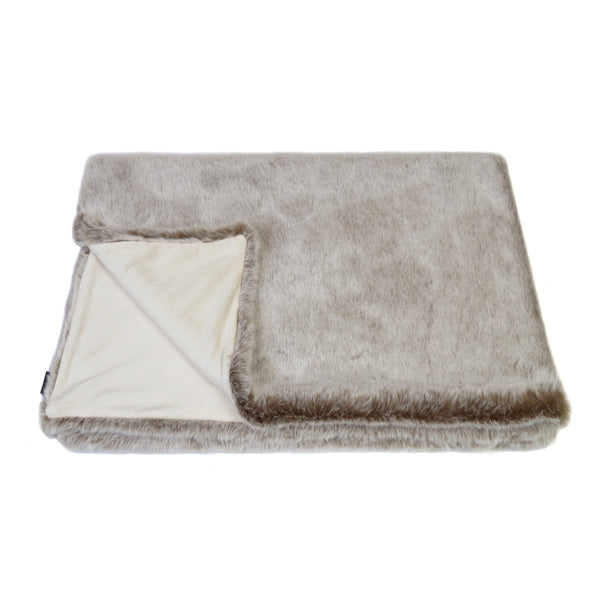 Latte Faux Fur Comforter/Throw