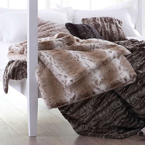 Lynx Faux Fur Comforter Throw