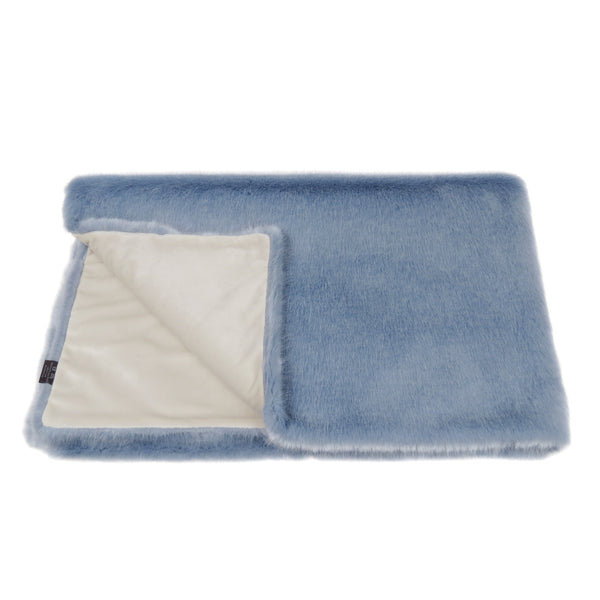 Powder Blue Faux Fur Comforter Throw