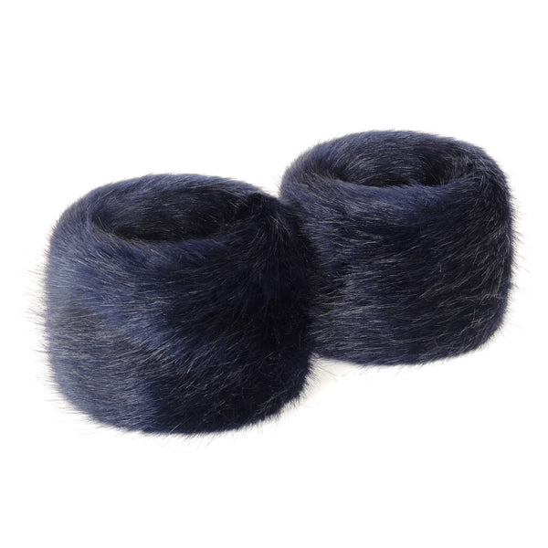 Blue Midnight Faux Fur Wrist Warmers