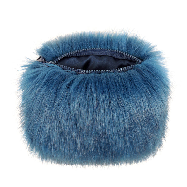 Blue Petrol Faux Fur Coin Purse
