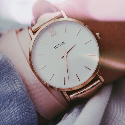 Rose Gold Metallic Minuit CLUSE Watch