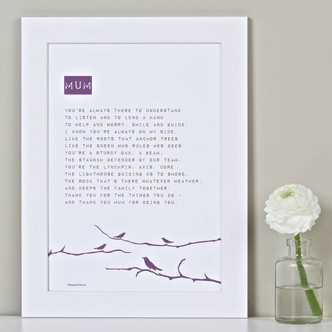 Mum Bird Poem Print Purple