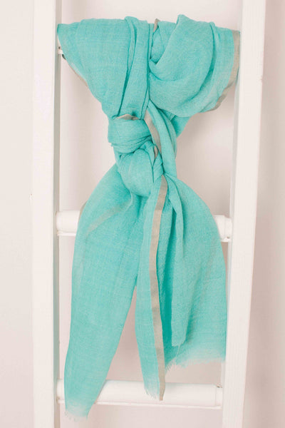 Turquoise Wool & Silk Scarf