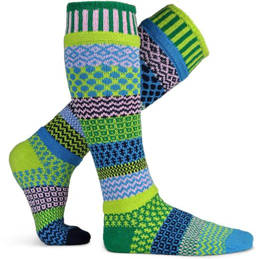 Mismatched Knitted Knee High Socks (Water Lily)