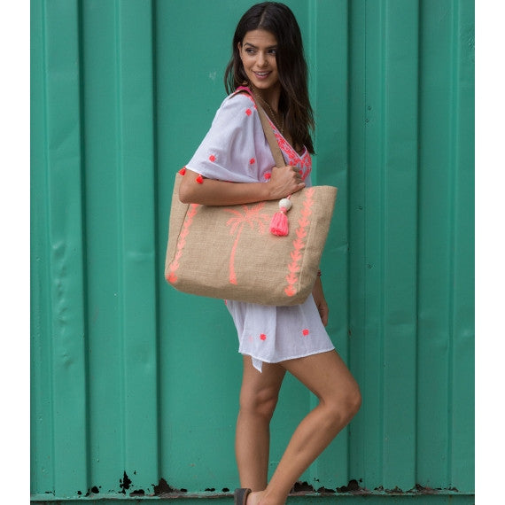 Pink Palm Tree Jute Beach Bag